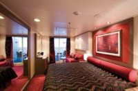 A balcony cabin on MSC's Poesia cruise ship