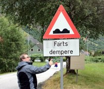 Farts Dempere road sign in Norway