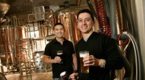 Premier's trophy ... David and Andrew Ong from 2 Brothers Brewery in the Melbourne suburb of Moorabbin.