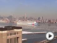 New York, New York - Norwegian Breakaway sails an icy