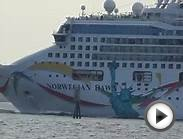 Norwegian Dawn Under Sunshine Skyway Bridge Tampa